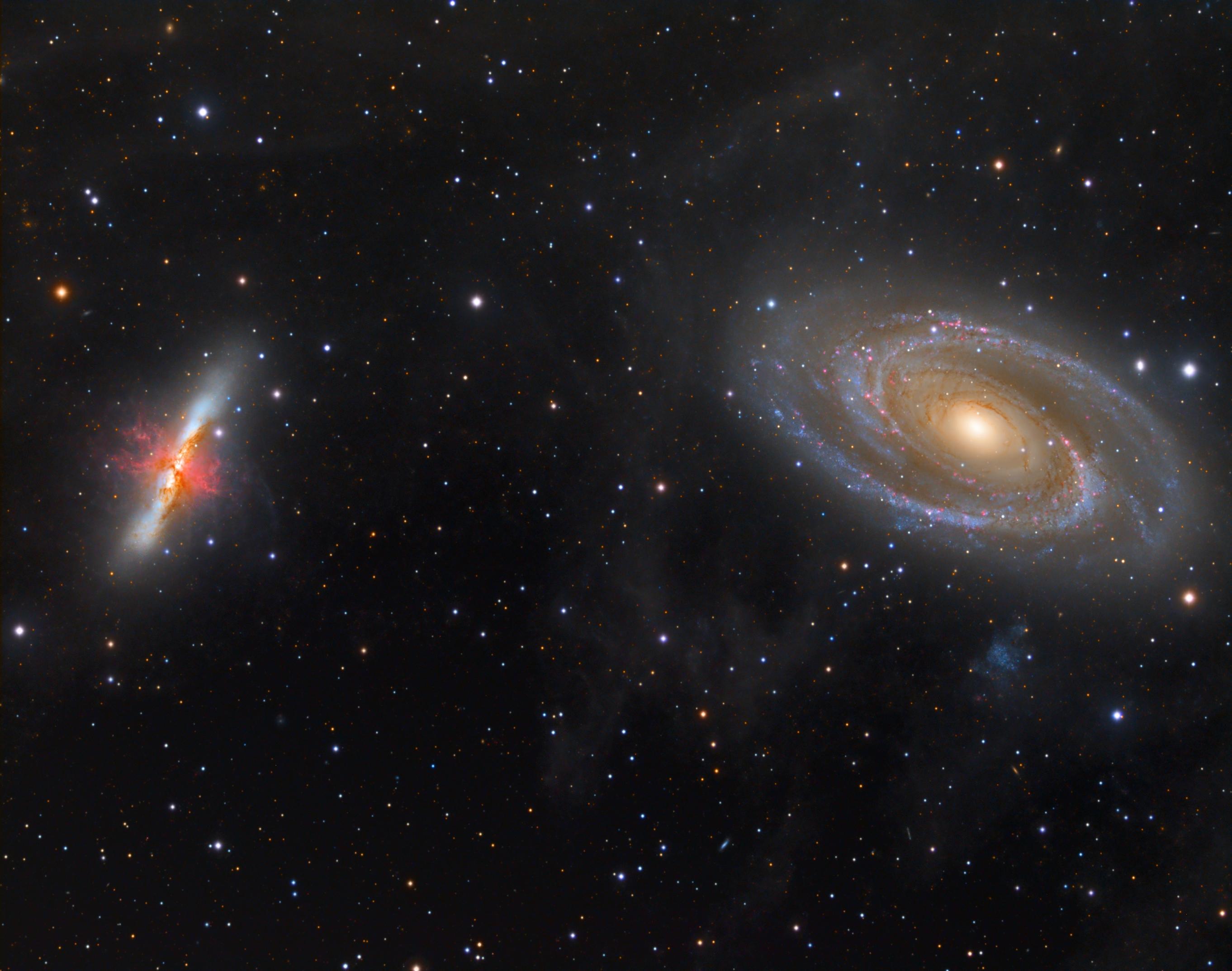 M81-82_koniec   Telescope: TEC140 f/5.2 Camera: QHY695A Mount: Paramount MyT Exposure: Exposure: (Ha,L,R,G,B) 24,5h Ha 25x900s, L 26x60s, L 59x600s, R 25x300s , G 25x300s, B 44x300s, (binx1) Date and place: 03.2019, Observatory E-EyE, Fregenal de la Sierra, Spain