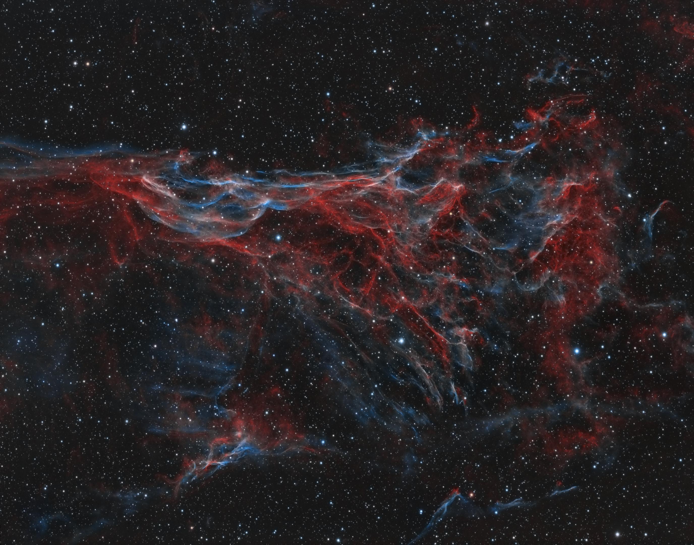 NGC6979_bicolor_koniec_last-v  Telescope: TEC140 f/5.2  Camera: QHY695A  Mount: Paramount MyT  Exposure: (Ha,OII) 13,5h Ha 33x900s , OIII 21x900s binx1  Date and place: 08.2018 Ochojno, Poland