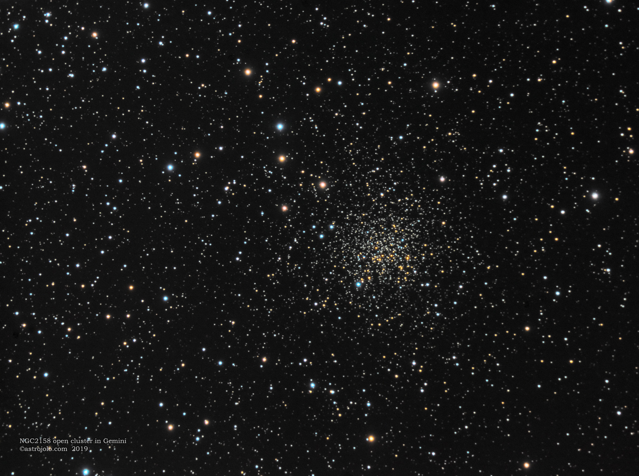 NGC2158 open cluster Date: 30.03, 01.04.2019 Location: Nieborowice, Poland Telescope: Meade ACF 10` Corrector: AP CCDT67 Camera: QHY163M, gain 100 Mount: SW EQ6 Guiding: SW 80/400 + ASI290MM Exposure: LRGB 80:40:30:40 x 30 seconds Conditions: suburban sky, seeing good, transparency good