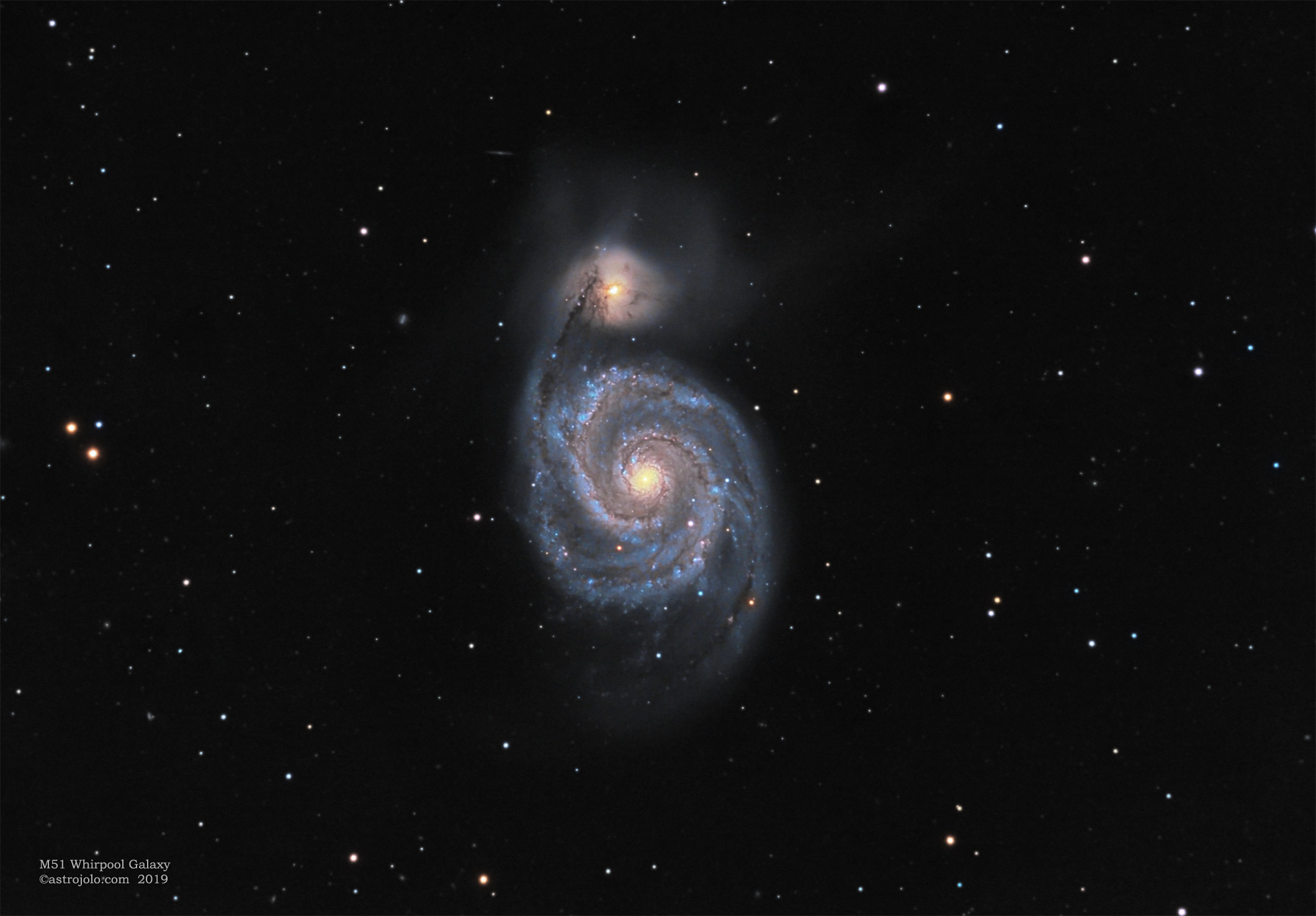 M51 Whirlpool Date: 19-21.04.2019 Location:   Nieborowice, Poland Telescope:  Meade ACF 10` Corrector:  AP CCDT67 Camera:     QHY163M, gain 100 Mount:      SW EQ6 Guiding:    SW 80/400 + ASI290MM Exposure:   LRGB 400:40:30:40x60 seconds Conditions: suburban sky, seeing good, transparency good