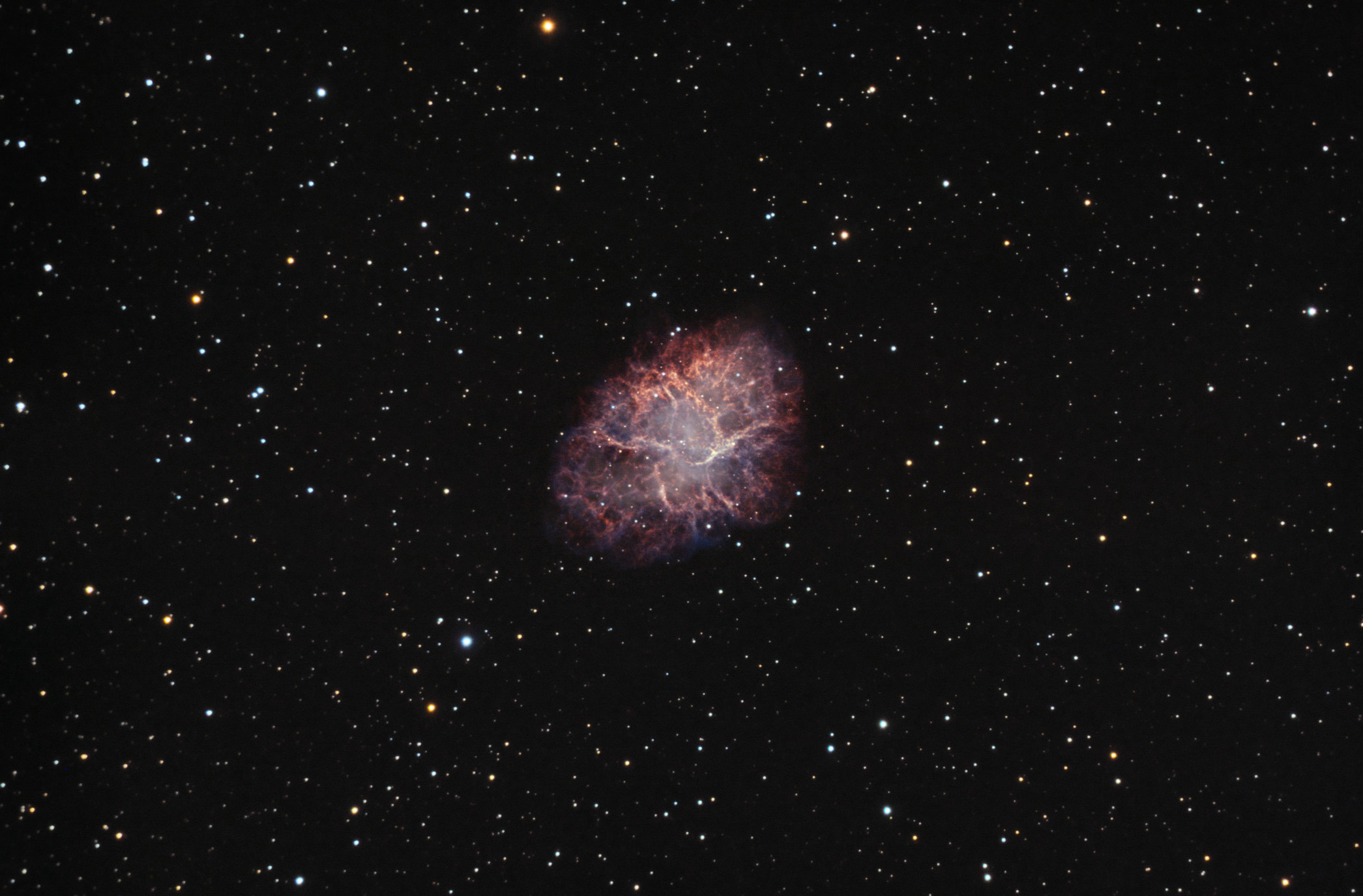 M1 Crab nebula Date:       January-February 2018 Location:   Nieborowice, Poland Telescope:  Meade ACF 10` Corrector:  AP CCDT67 Camera:     QHY163M, gain 0 Mount:      SW EQ6 Guiding:    SW 80/400 + ASI290MM Exposure:   Ha 55x5, Oiii 25x5, RGB 18:12:12x1 minute Conditions: seeing good, transparency average-poor