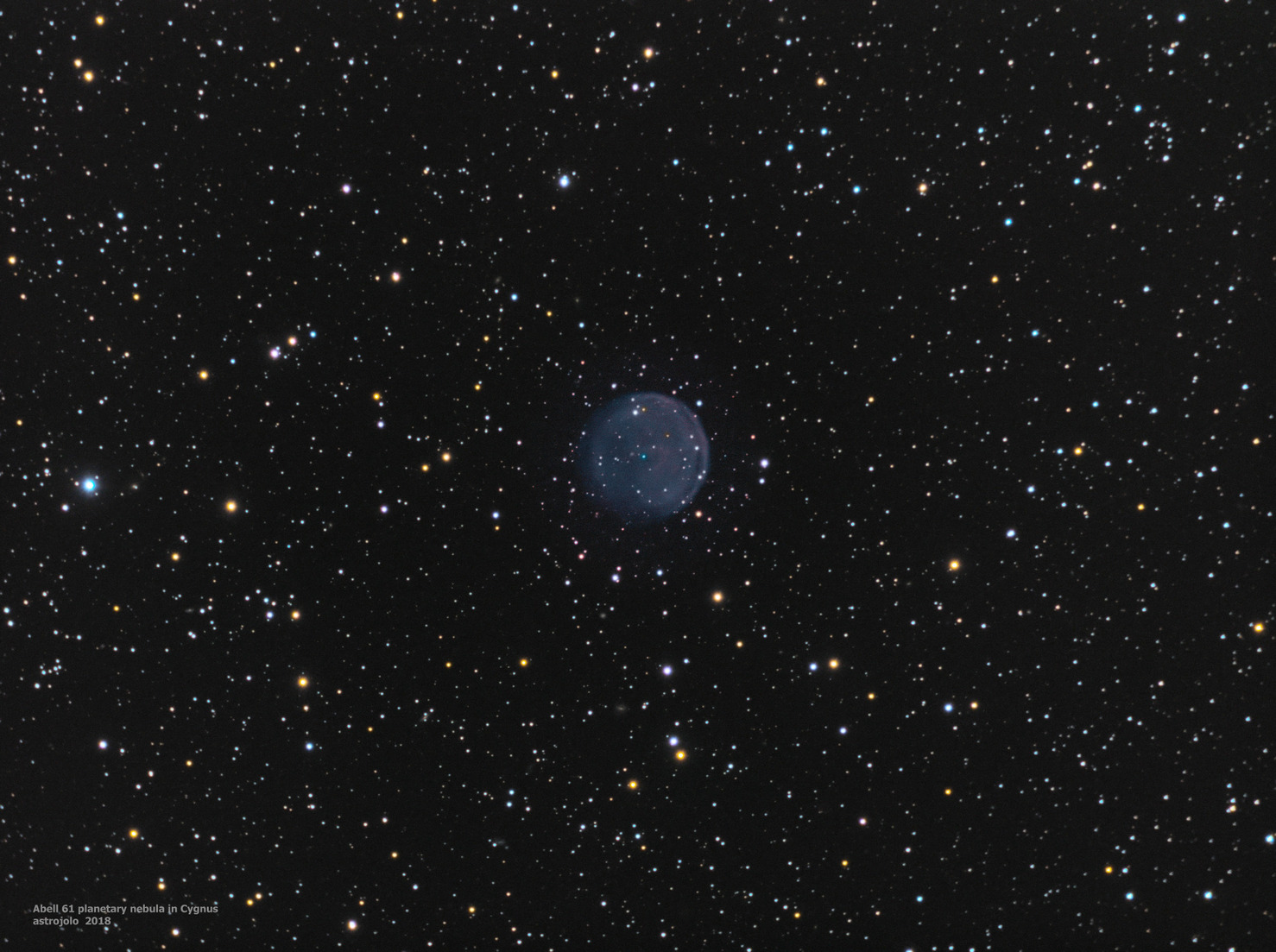 Abell 61 nebula Date:       05,06,14,17,18,19.05.2018 Location:   Nieborowice, Poland Telescope:  Meade ACF 10` Corrector:  AP CCDT67 Camera:     QHY163M Mount:      SW EQ6 Guiding:    SW 80/400 + ASI290MM Exposure:   Ha 40x5, Oiii 30x5, LRGB 40:30:20:30x1 minutes Conditions: seeing average-good, transparency average, Moon present