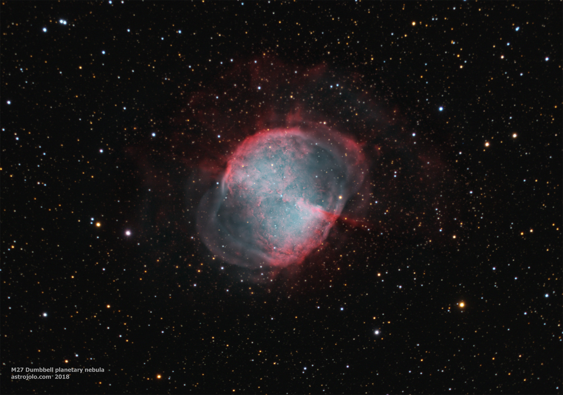 M27 Dumbbell Date: July-August, 2018 Location: Nieborowice, Poland Telescope: Meade ACF 10` Corrector: AP CCDT67 Camera: QHY163M, gain 100 Mount: SW EQ6 Guiding: SW 80/400 + ASI290MM Exposure: Ha:Oiii 100:30 x 5 minutes, RGB 50:30:40 x 30 seconds Conditions: seeing average-good, transparency average-good