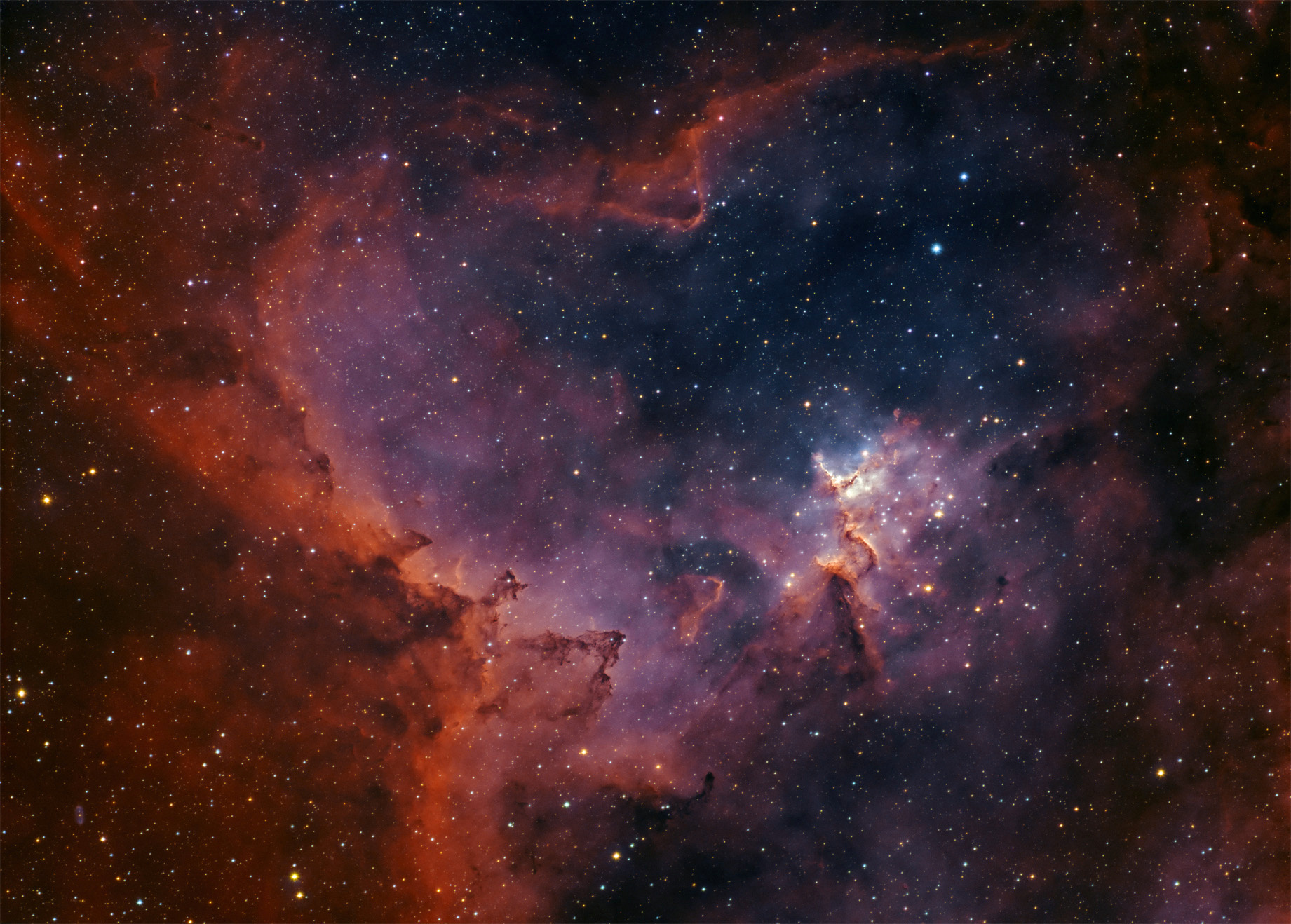 Melotte 15 and WeBo 1 Date:       January 2017 Location:   Nieborowice, Poland Telescope:  TS130/910 APO Camera:     QHY163M, gain 0 Mount:      SW EQ6 Guiding:    SW 80/400 + ASI290MM Exposure:  HaOiiiRGB 15 hours total