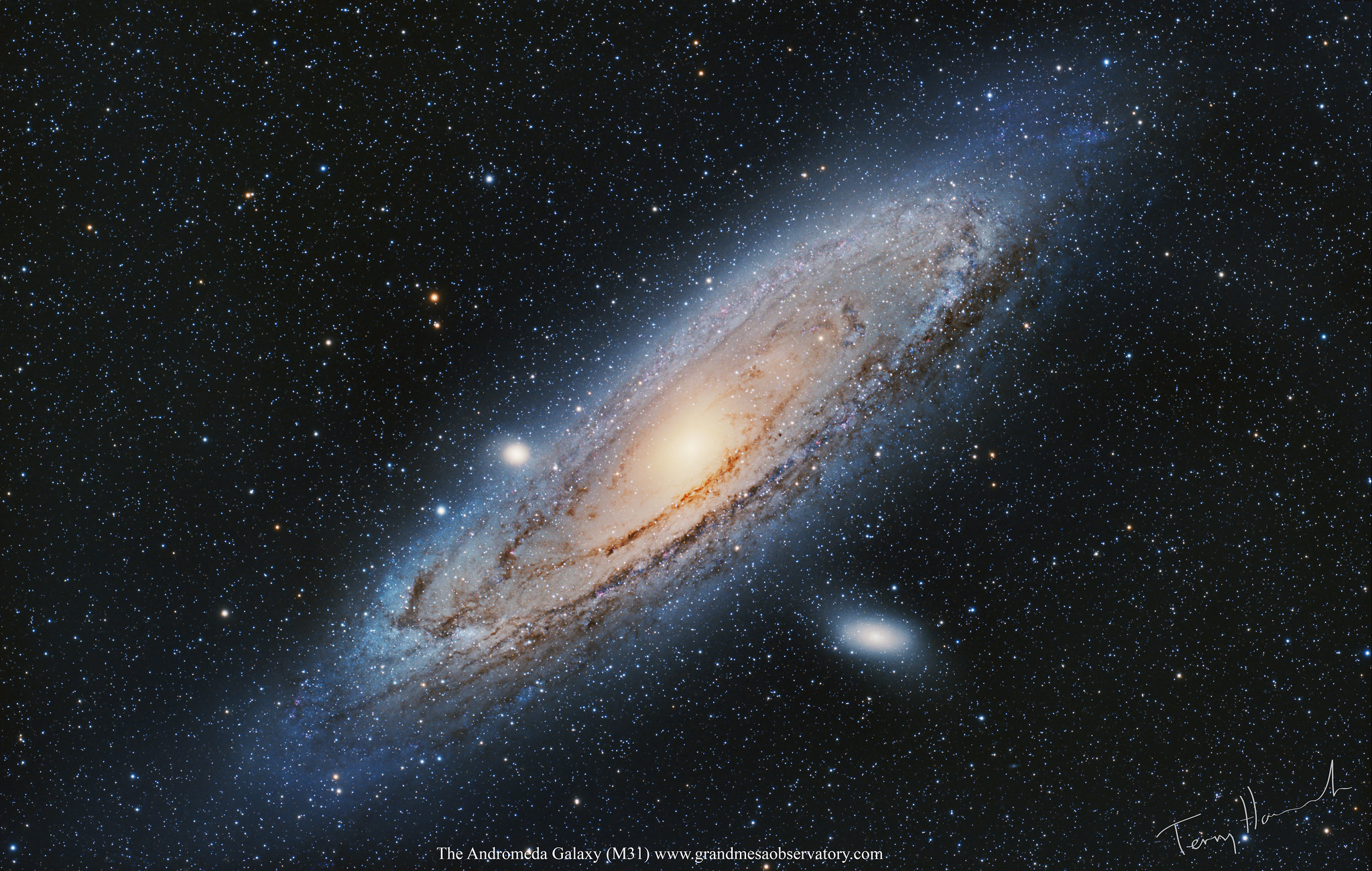 The Andromeda Galaxy M31 Location: GrandMesaObservatory.com Whitewater, Colorado  RGB 141x 2 min  Camera: QHY367C  Gain 2850, Offset 76 with Dark Frames no Flat.  Optics: Walter Holloway`s Takahashi FSQ 130 APO Refractor @ F5  EQ Mount: Paramount ME  Image Acquisition software Maxim DL5  Registed, Calibrated and Stacked in Deep Sky Stacker  Post Processed with Pixinsight and Photoshop CS6