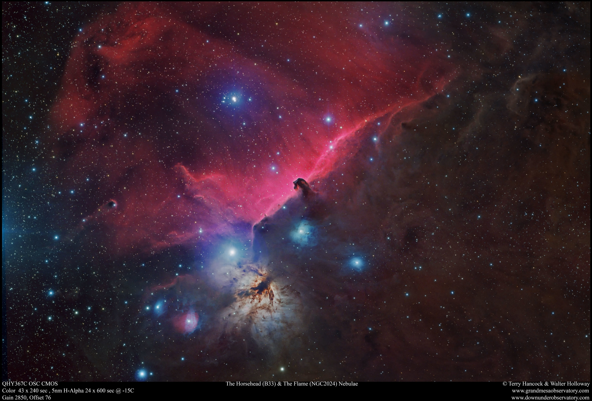 The Horsehead and The Flame Nebulae in RGB Location: GrandMesaObservatory.com Whitewater, Colorado  Date: 13th, 14th October 2017  RGB 43 x 4 min,  H Alpha 5nm 24 x 10 min  Camera: QHY367C  Gain 2850, Offset 76 with Dark Frames no Flat.  Optics: Walter Holloway`s Takahashi FSQ 130 APO Refractor @ F5  Filters by Chroma  EQ Mount: Paramount ME  Image Acquisition software Maxim DL5  Registered, Calibrated and Stacked in Deep Sky Stacker  Post Processed with Pixinsight and Photoshop CS6