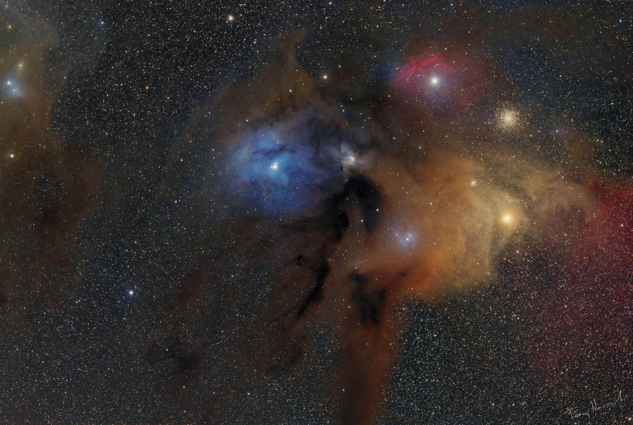 Rho Ophiuchi with the Redcat Captured May 2019 over 3 nights  QHY128C Full Frame One Shot Color COLDMOS cooled to -20C  Size: 6036x4028 pixels  Pixel Size: 5.97 x 5.97 um  Gain 1208, Offset 60  Darks, Bias and Flat Calibration  32 x 600 sec  Optics: William Optics Redcat 51 APO 250mm F4.9 williamoptics.com/redcat-51  Paramount ME German Equatorial Mount  Image Acquisition Maxim DL  Pre Processing Pixinsight  Post Processing Photoshop CC