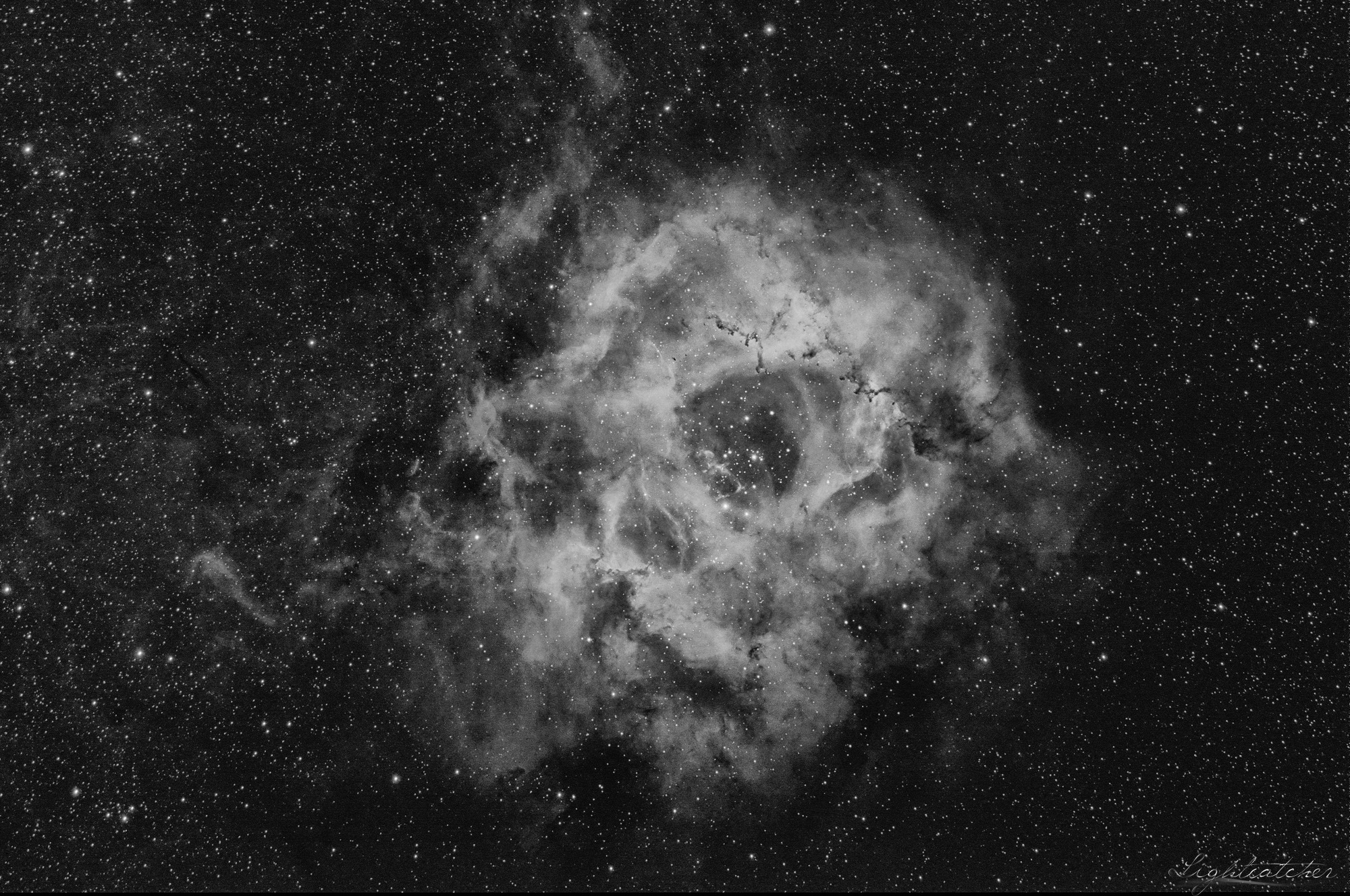 Rosette Nebula (NGC2239) in Hydrogen Alpha BW version Scope: ED-APO refractor D90 F500mm f/5.5 with experimentally connected SW field flattener Mount: NEQ6-Pro Camera: QHY168C Filter Baader 7nm H-alpha Guiding camera: ZWO ASI120MM Guiding scope: 60mm 16x300s exposure at -10°C (80 min total) binning 1x1 10xdarks 10xbias 10xflats