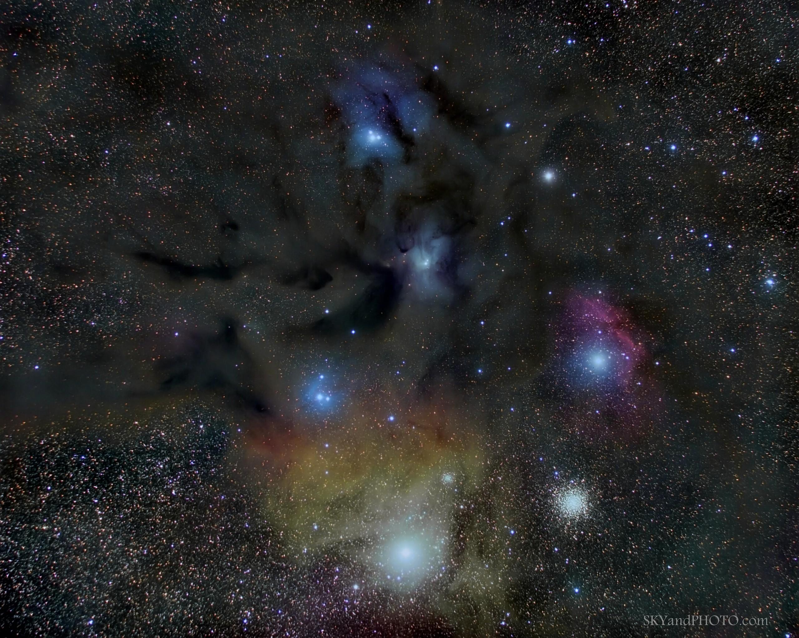 "RHO OPHIUCHI CLOUD COMPLEX 16 Jun 2018, Sierra Seville, Spain. Telescope  Takahashi FS60 CB. Reducer Takahashi x72. 255mm at F4,3 Mount Takahashi EM200 Temma2. Camera  CCD QHY 16200A-FW7. Guided with QHY OAG with CCD  QHY5 LII. Filtros  L, R, G, B , of  2"" Astronomik. Exposures 7x600`  L , 8x300`,  R,G,B bin 2."
