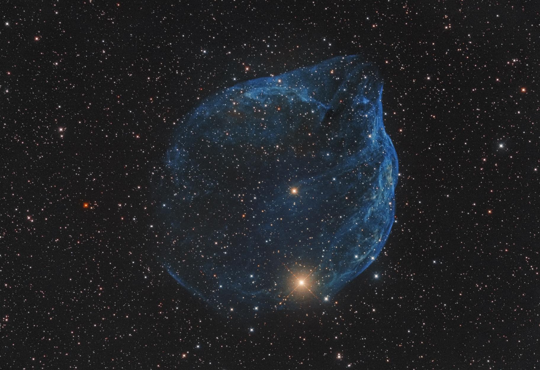 Imaging telescope or lens:Takahashi CCA250 Imaging camera:QHYCCD QHY600 Mount:Skywatcher EQ8 Guiding telescope or lens:Takahashi GT-40 Guiding camera:Starlight Xpress Lodestar2 Software:MaximDL 6,  Adobe Photoship CC 2017,  FlatAidePro Resolution: 4096x2802 Dates:Dec. 8, 2019  Frames: Astrodon H-alpha 5nm: 15x600` (gain: 26.00) -20C  Astrodon O3 5nm: 18x600` (gain: 26.00) -20C  Integration: 5.5 hours